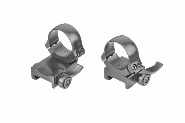 Recknagel Aufkippmontage, schräggeteilte Ringe und Klemmhebel, Picatinny-/Weaver - 15mm verlängert
