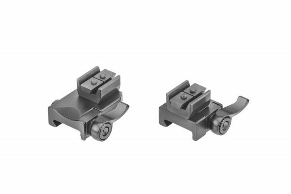 Recknagel Aufkippmontage, 45°-Aufnahmeprismen und Klemmhebel, Picatinny-/Weaver - 15mm verlängert
