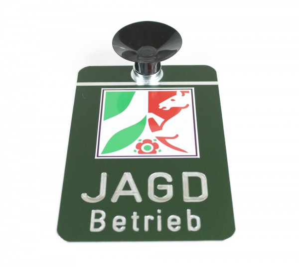 Dr. Gmünder Jagdbetrieb Schild mit Landessymbol und Saugnapf