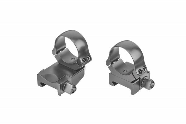 Recknagel Aufkippmontage, schräggeteilte Ringe, Picatinny-/Weaver-Schiene - 15mm verlängert
